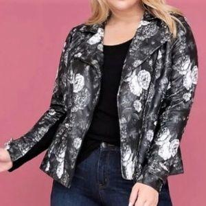 Lane Bryant floral vegan leather moto jacket 18 20